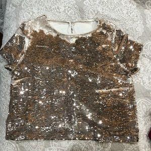 Women's gold sequin crop top